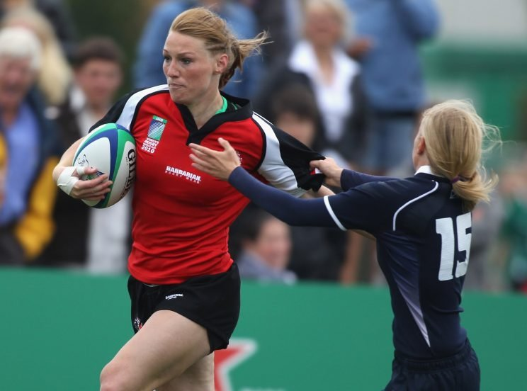 Heather Moyse of Canada scores a try during the Women's Rugby World Cup 2010 Pool C Match between Canada and Scotland at Surrey Sports Park on August 20, 2010 in Guildford, England. (Photo by Phil Cole/Getty Images)