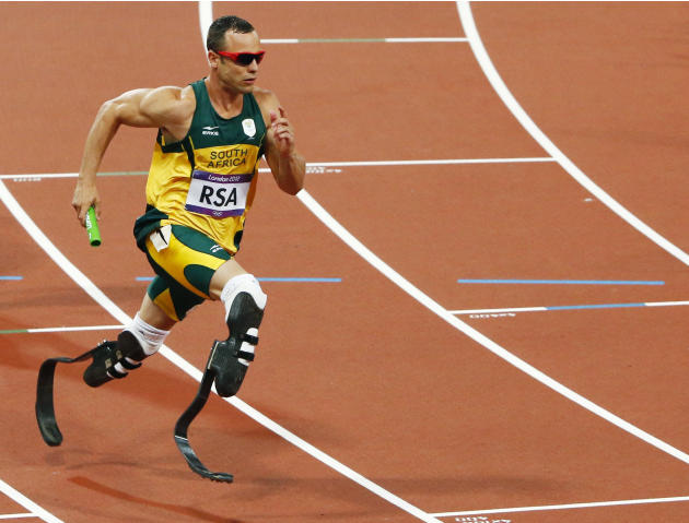 South Africa's Oscar Pistorius runs the final leg of the men's 4x400m relay final during the London 2012 Olympic Games at the Olympic Stadium