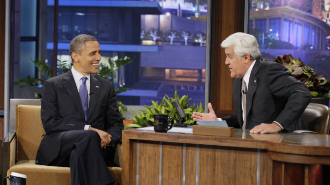 "In this photo provided by NBC, President Barack Obama appears on ""The Tonight Show"" with Jay Leno Wednesday, Oct. 24, 2012, in Los Angeles. (AP Photo/NBC, Paul Drinkwater)"