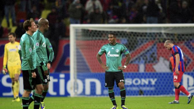 Schalke 04's Farfan reacts on the pitch after their Champions League soccer match against Steaua Bucharest in Bucharest