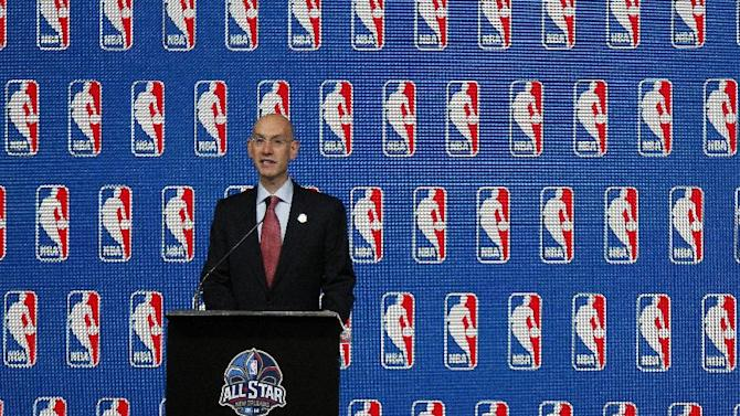 NBA Commissioner Adam Silver speaks at a news conference before the skills competition at the NBA All Star basketball weekend, Saturday, Feb. 15, 2014, in New Orleans