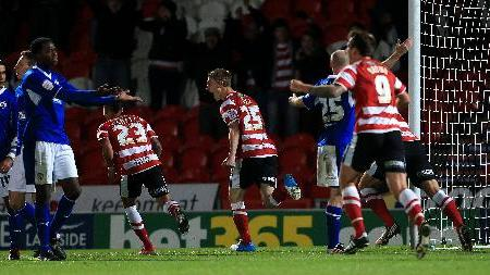 Jordan Ball, centre, bagged the winner as Doncaster beat Chesterfield