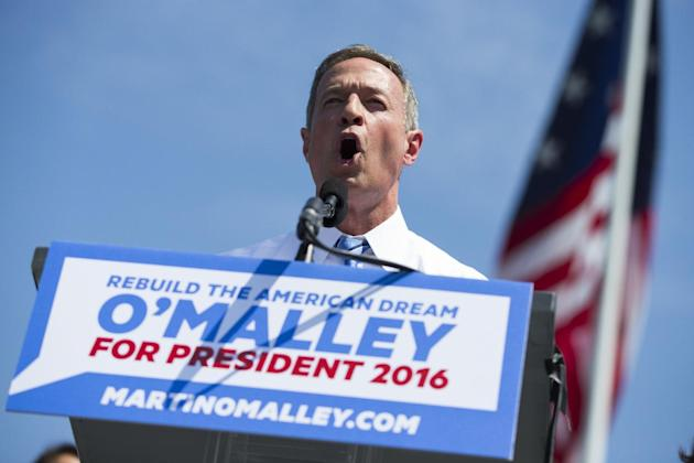 Former Maryland Gov. Martin O'Malley speaks during an event to announce that he is entering the Democratic presidential race, on Saturday, May 30, 2015, in Baltimore. O'Malley has presented hi