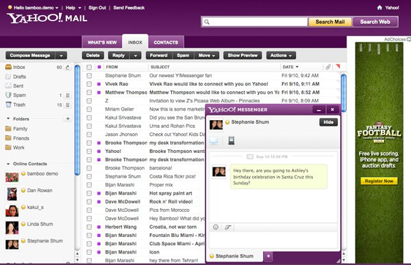 Screenshot showing Yahoo! Mail and Yahoo! Messenger with new beta features