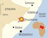 Map locating the Somali town of Dhusamareb where a suicide bomber has killed at least eight people including two lawmakers