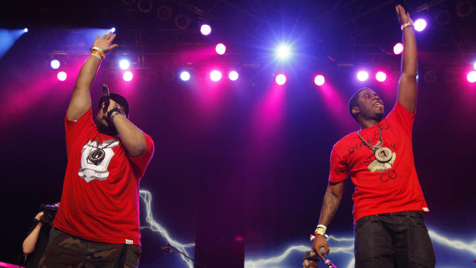 Big Sant, left, and Big K.R.I.T perform during the 'Fuse Live: Shady 2.0' SXSW concert at the Austin Music Hall on Friday, March 16, 2012 in Austin, Texas. (Brandon Wade/AP for Fuse)