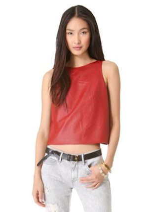 Tibi leather crop top, $398, shopbop.com