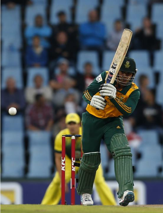 South Africa's Quinton de Kock plays a shot during the final of the T20 cricket test match against Australia in Centurion