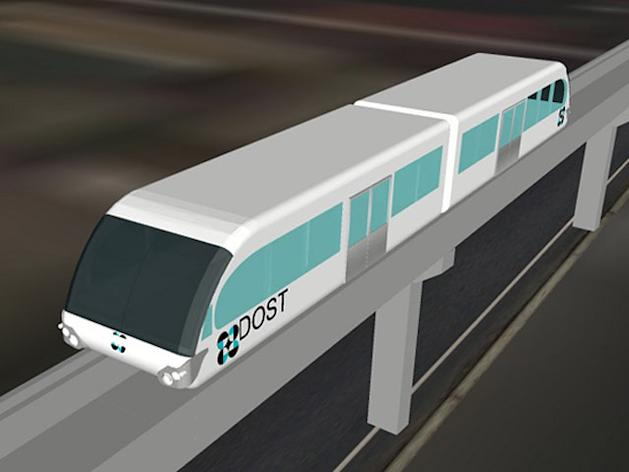 The Department of Science and Technology (DoST) announced it will develop a monorail train system that will run on electricity. A 500-meter track will be built at the UP Diliman campus to test this monorail system. (Computer-generated design courtesy of DoST)
