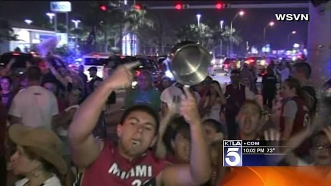 Fans Go Crazy in Miami After Heat Wins NBA Finals