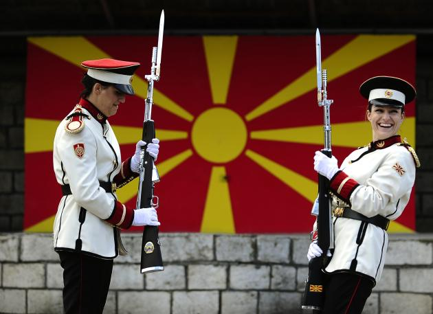 Corporals Verica Zlatevska and Dragana Kitanovska attend an honour guard training session at an army barracks in Skopje