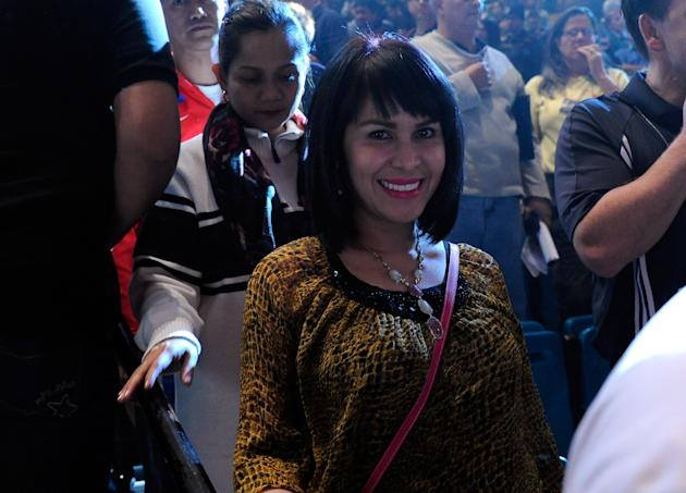 LAS VEGAS, NV - NOVEMBER 11: Jinkee Pacquiao, the wife of boxer Manny Pacquiao, smiles after the official weigh-in for her husband's bout against Juan Manuel Marquez at the MGM Grand Garden Arena November 11, 2011 in Las Vegas, Nevada. Pacquiao will defend his WBO welterweight title against Marquez when the two meet in the ring for the third time on November 12 in Las Vegas. (Photo by Ethan Miller/Getty Images)