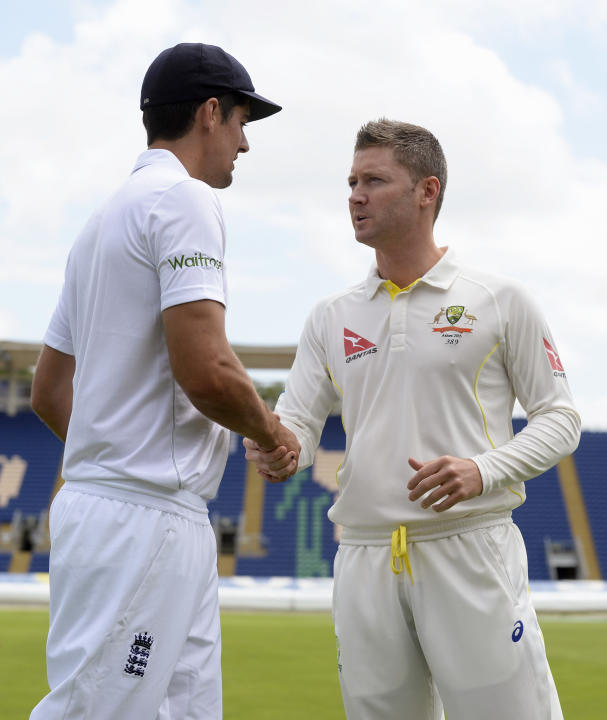 CRIC: England's Alastair Cook shakes hands with Australia's Michael Clarke before a training session