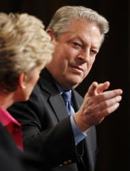 "Al Gore, Former Vice President and Current TV Chairman and Co-Founder and Jennifer Granholm, left, former Michigan Governor and host of the new television show ""The War Room with Jennifer Granholm, participates in the Current TV portion of the Television Critics Association Winter Press Tour in Pasadena , Calif. on Friday, Jan. 13, 2012. (AP Photo/Danny Moloshok)"