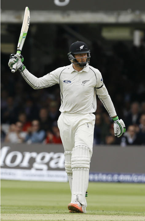 New Zealand's Martin Guptill celebrates getting 50 runs not out against England during play on the second day of the first Test match at Lord's cricket ground in London, Friday, May 22, 2015.