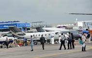 Commercial places on display at the Singapore Airshow on February 13, 2014