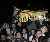 People gather at the White House late on 1 May 2011 to celebrate the death of Osama Bin Laden. AFP Photo / Chris Kleponis
