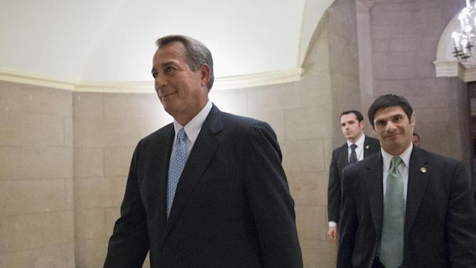 FILE - This Jan. 15, 2013 file photo shows House Speaker John Boehner of Ohio walking on Capitol Hill in Washington. Republican leaders scramble for votes on a stopgap debt-limit measure that would let the government keep borrowing until at least mid-May, giving up for now on trying to win spending cuts from Democrats in return. But the respite would be only temporary, with major battles still to come between the GOP and President Barack Obama over taxes, spending and deficits. (AP Photo/J. Scott Applewhite, File)