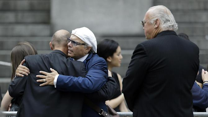 """Joe Pantoliano, a cast member of """"The Sopranos"""" arrives at Cathedral Church of Saint John the Divine during funeral services actor James Gandolfini, Thursday, June 27, 2013, in New York. Gandolfini, who played Tony Soprano in the HBO show """"The Sopranos"""", died while vacationing in Italy last week. (AP Photo/Julio Cortez)"""