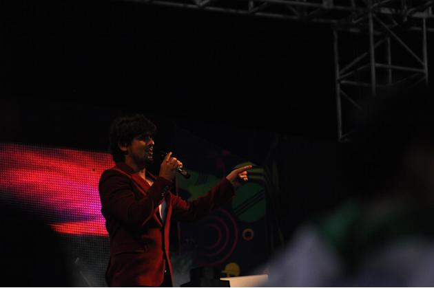 Singer Sonu Nigam give live performace during Champions League Twenty-20 Match at Jharkhand State Cricket Association (JSCA) International Cricket Stadium in Ranchi on Sept. 28, 2013. (Photo: IANS)