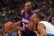 Los Angeles Lakers's Kobe Bryant (L) and the Denver Nuggets' Arron Afflalo during game four of the NBA Western Conference first-round playoffs on May 6. The Lakers won 92-88