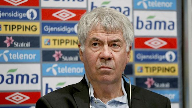 Outgoing head coach for Norway's national football team  Egil Olsen attends a press conference in Oslo, Friday, Sept. 27th, 2013. Sweden's Per-Mathias Hogmo has been tapped as Norway's new coach, immediately replacing  Olsen who agreed to resign after the latest poor results in the team's attempt to qualify for the World Cup
