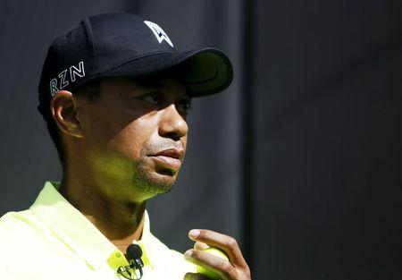 Golfer Tiger Woods of the U.S. attends a fan event in Tokyo