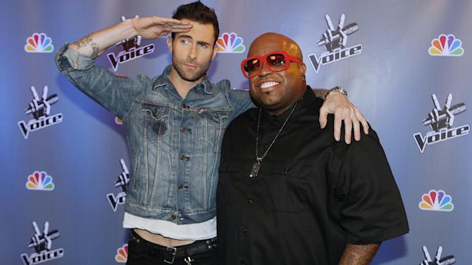 "FILE - In this March 15, 2011 file photo, singers Adam Levine, left, and Cee Lo Green, pose at the set of ""The Voice, "" television series at Los Angeles Center Studios, in Los Angeles. It's likely no consolation that over on NBC's ""The Voice,"" which has regularly toppled ""Idol"" in the ratings this year, drama-free celebrity panelists like Usher, Adam Levine, Cee Lo Green and Shakira actually seem to all get along. (AP Photo/Damian Dovarganes, File)"