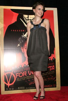 Natalie Portman at the New York premiere of Warner Bros. Pictures' V for Vendetta