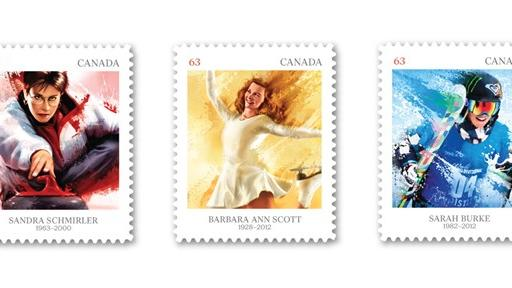 Stamps commemorating past Canadian Olympic athletes Sandra Schmirler, Barbara Ann Scott and Sarah Burke are shown in a handout photo. THE CANADIAN PRESS/HO-Canada Post