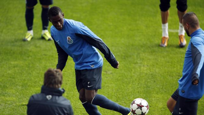 Porto's Jackson Martinez controls the ball during their training session at Dragon stadium in Porto