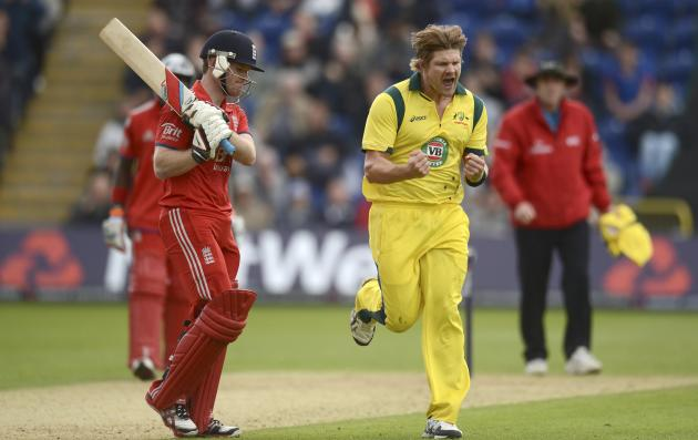 Australia's Watson celebrates after dismissing England's Morgan during the fourth one-day international at Sophia Gardens in Cardiff, Wales