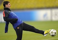 Barcelona's forward Lionel Messi controls a ball during a training session in Moscow on November 19, the eve of an UEFA Champions League football match against Spartak Moscow