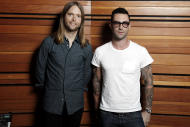 """This May 22, 2012 photo shows Adam Levine, right, and James Valentine of the band Maroon 5, posing for a portrait in Los Angeles. The latest release by Maroon 5, """"Overexposed,"""" was released on Tuesday, June 26. (Photo by Matt Sayles/Invision/AP)"""