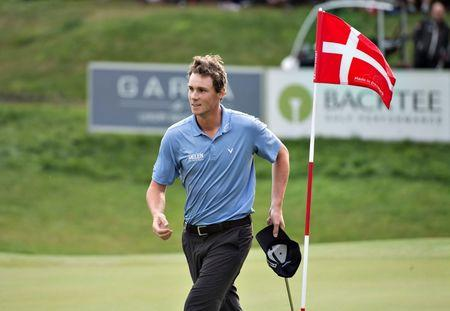 Thomas Pieters of Belgium reacts during the Made in Denmark, European Tour golf tournament, final round in Farso