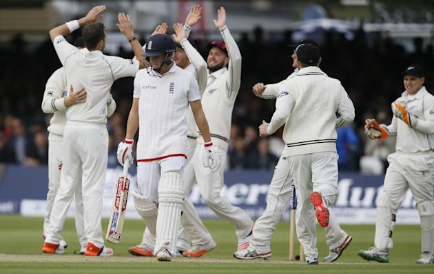 England's Gary Balance leaves the pitch after he is bowled for 0 by New Zealand's Tim Southee during the third day of the first Test match between England and New Zealand at Lord's cricket