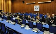 "Delegates wait for the opening of an International Atomic Energy Agency (IAEA) meeting at the agency headquarters in Vienna in 2010. Member states of the UN atomic agency approved a resolution ""deploring"" North Korea's decision to cease all cooperation with the watchdog and calling on Pyongyang not to conduct further nuclear tests"