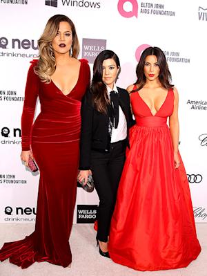 Kim, Kourtney, Khloe Kardashian Dazzle at Elton John's Oscars Viewing Party: Picture