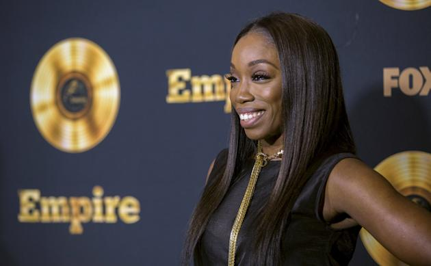 """Singer Estelle poses at a screening of the television series """"Empire"""" in Los Angeles"""