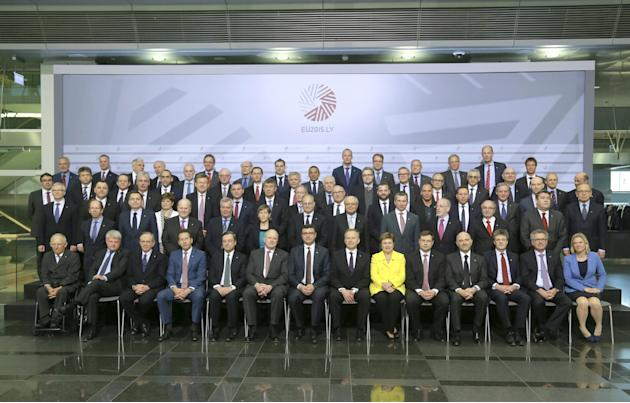 Participant in the Informal Meeting of Ministers for Economic and Financial Affairs of the European Union pose for a photo in Riga, Latvia on Friday, April 24, 2015. Greece remains at loggerheads with
