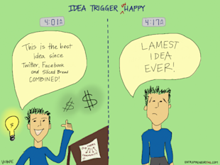 Comic: Idea Trigger (un)Happy image entrepreneurfail Idea Trigger UnHappy 600x450