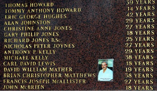 A photograph at the Hillsborough Memorial at Liverpool FC's Anfield football ground in Liverpool on April 15, 2013