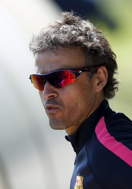 Barcelona's coach Luis Enrique arrives before a training session at the Barcelona training grounds Ciutat Esportiva Joan Gamper in Sant Joan Despi near Barcelona