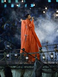 Barbadian singer Rihanna performs during the closing ceremony of the London 2012 Paralympic Games at the Olympic Stadium in east London.