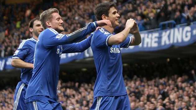 Chelsea's Emboaba Oscar celebrates scoring their first goal of the game against Stoke