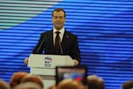 Russia's Prime Miniter Dmitry Medvedev speaks at a congress of the ruling party United Russia in Moscow. Russia's ruling party on Saturday approved Medvedev as its new chief in a bid to reverse flagging popularity that stoked opposition protests against the Kremlin
