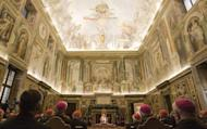 "Pope Benedict XVI addresses cardinals in the Clementine Hall at the Vatican in 2009. The Vatican slammed a ""sexual morality"" book written by an American Catholic nun, warning believers to stay away from the tome which justifies masturbation, homosexuality and divorce"
