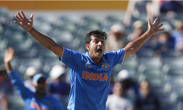 India's Mohit Sharma appeals for the wicket of United Arab Emirates Rohan Mustafa during their Cricket World Cup Pool B match in Perth, Australia, Saturday, Feb 28, 2015. (AP Photo/Theron Kirkman)