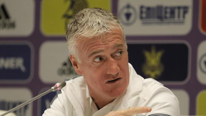 France's soccer coach Didier Deschamps speaks during a press conference at the Olympiyskiy national stadium in Kiev, Ukraine, Thursday, Nov. 14, 2013, ahead of their 2014 World Cup qualifying soccer match against Ukraine