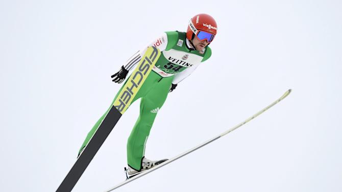 Fabian Riessle of Germany during the ski jumping of the Men's Nordic Combined FIS World Cup competition in Lahti
